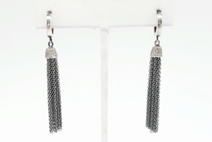 Essentials Collection Rose Cut Diamond Pave Tassel Earrings by Kary Kjesbo