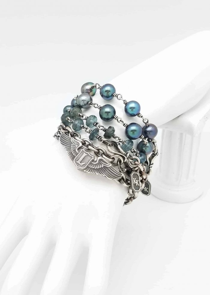 Kary Kjesbo peacock fresh water pearl bracelet