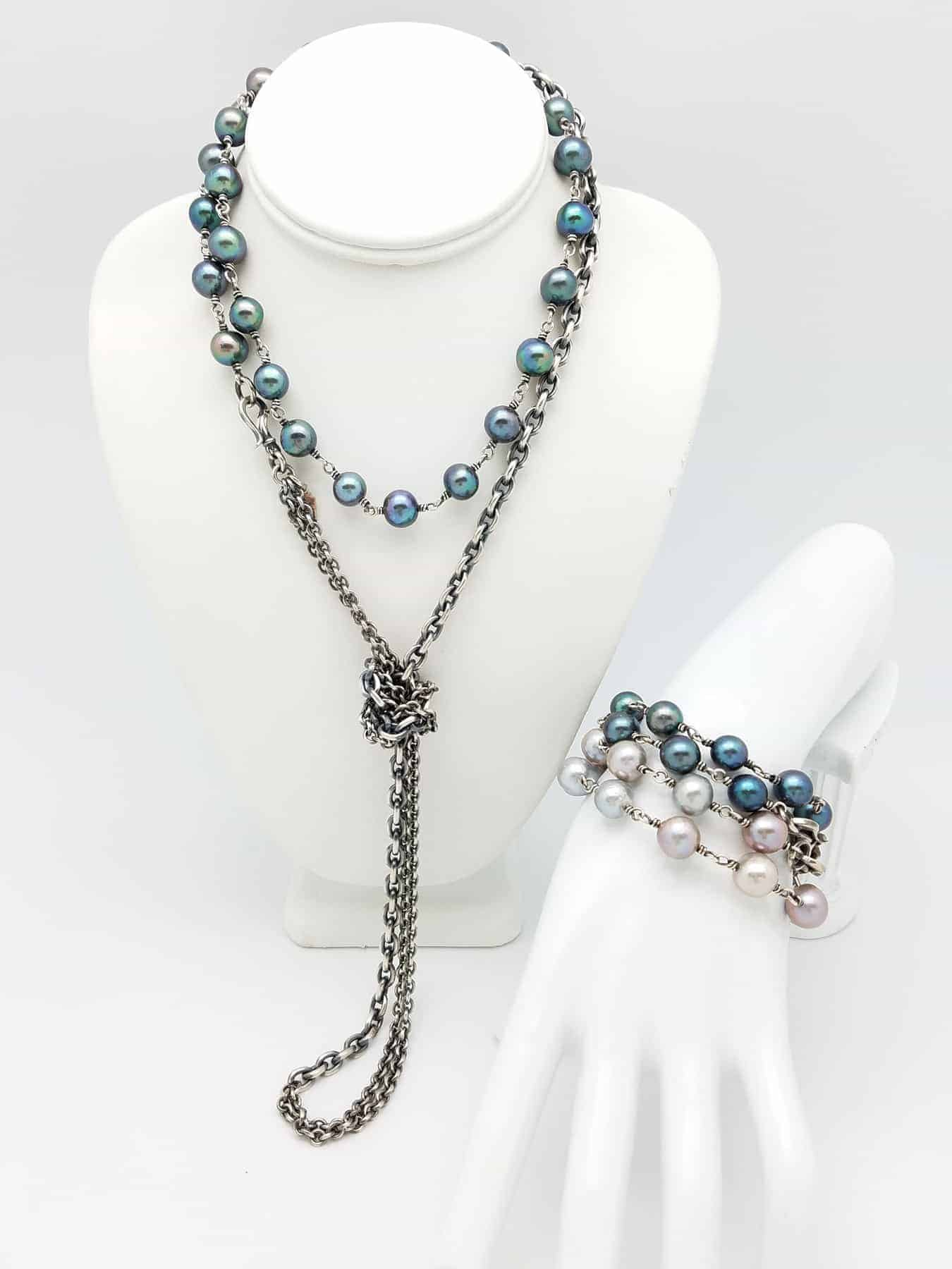 Kary Kjesbo Designs Necklace Brace. Pearls FW peacock and grey