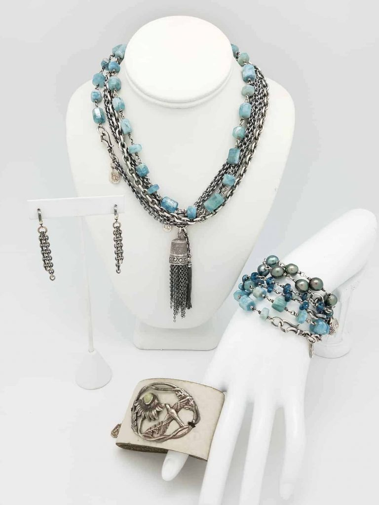 Collection Pale Blue Agua Necklace brace. stack Cream cuff