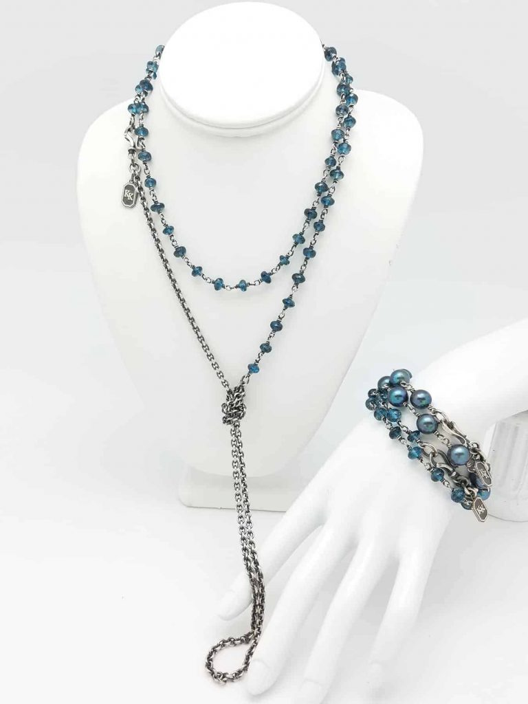 Neck. Bracelets, London Blue Topaz, FWPearls