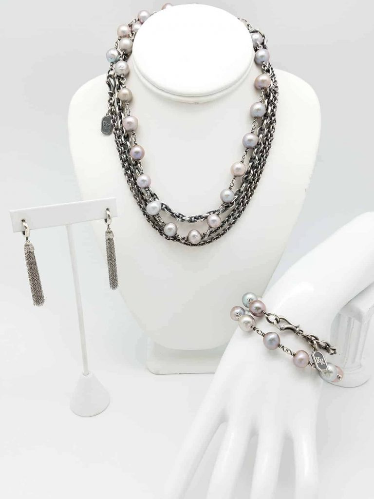 Necklace Brace. Pearls FW soft grey Neck Brace Dia tassel ER