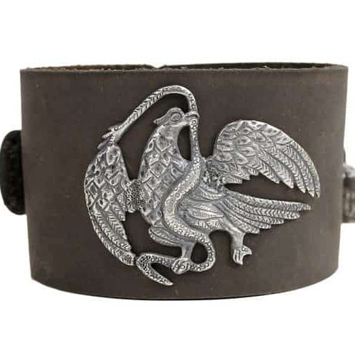 Mexican Eagle brown leather cuff