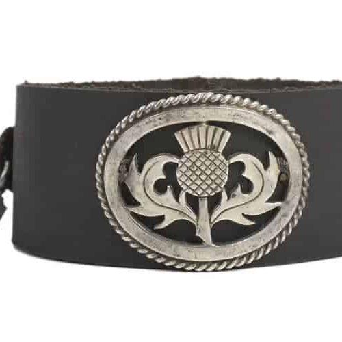 Victorian Scottish Thistle on black leather cuff