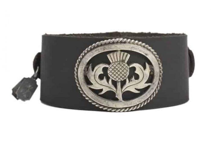Victorian Scottish Thistle on black leather cuff