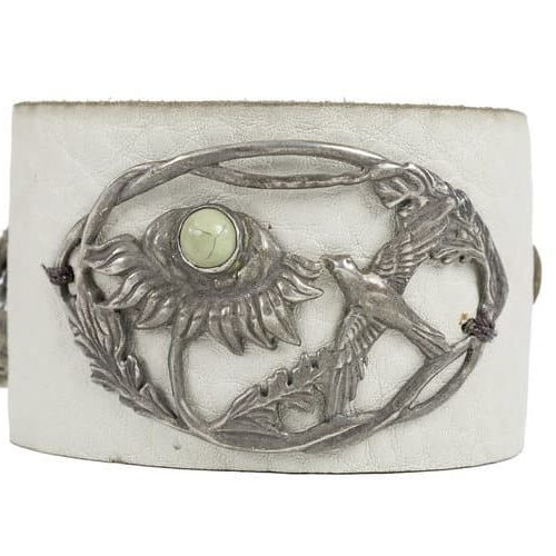 Victorian bird in flower on cream leather cuff