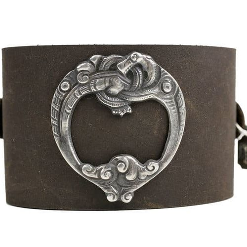 Viking Sea Dragon on brown leather cuff