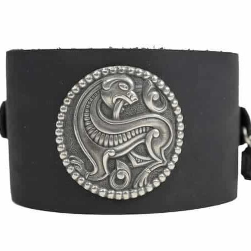 Viking Wolf on Black Cuff