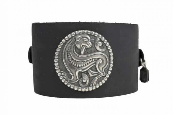 Viking Wolf on Black Cuff