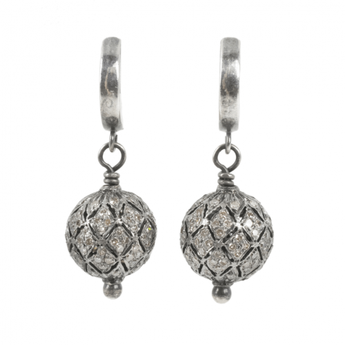 Earrings Victorian Diamond pave 12mm