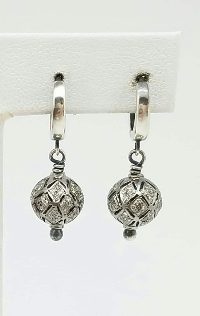 Earrings Victorian Diamond pave 9mm