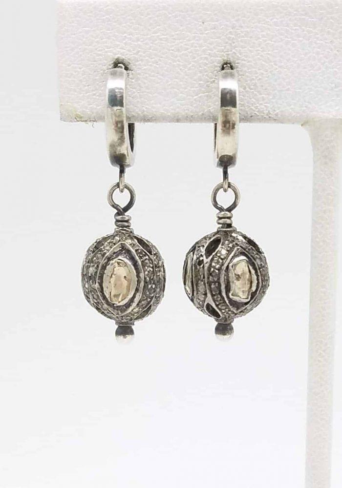 Kary Kjesbo Designs Essential Rose cut diamond earrings 12mm