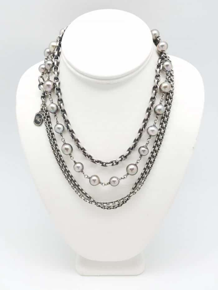 South Sea grey pearls Elite chain necklace