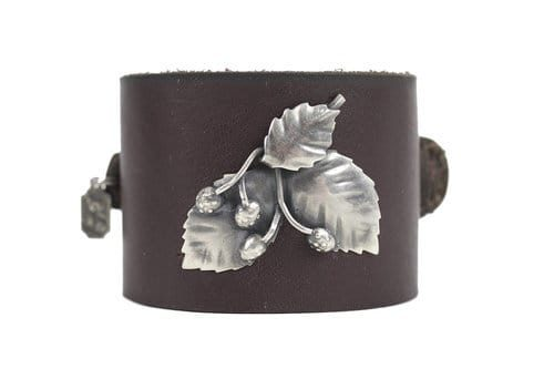 Kary Kjesbo Designs three leaf Victorian botanical on hand-sewn brown leather cuff