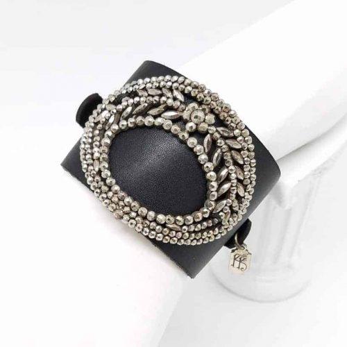 Kary Kjesbo Designs Cuff Bracelet - 1920s shoe clip on hand-sewn black leather cuff