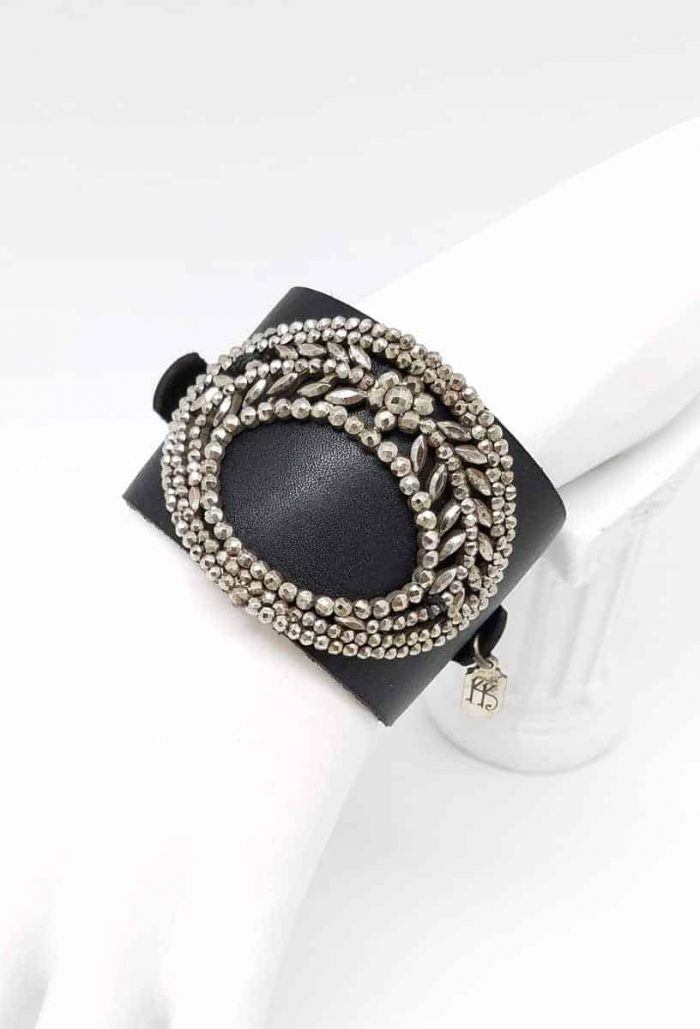 Kary Kjesbo Designs Cuff Bracelet - 1920s shoe clip on hand-sewn black leather cuff