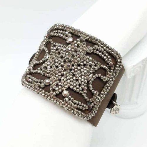 Kary Kjesbo Designs Cuff Bracelet - 1920s shoe clip on hand-sewn brown leather cuff