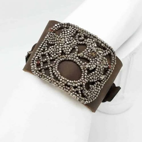 Kary Kjesbo Designs Cuff Bracelet - 1920s shoe clip on hand-sewn brown leather cuff