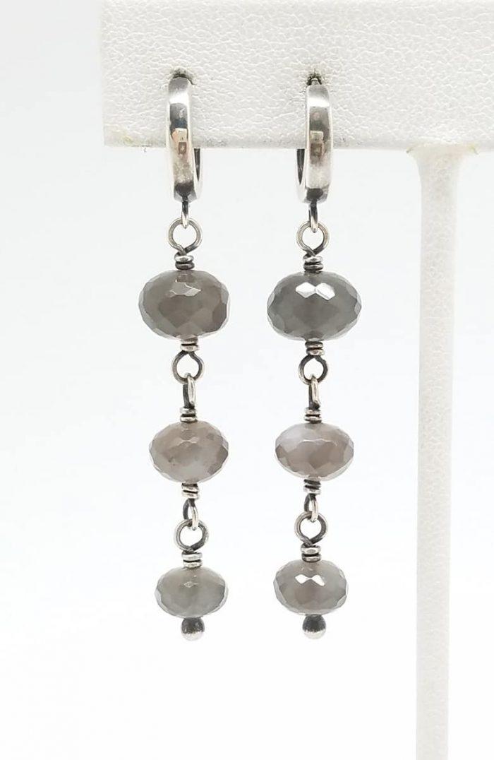 Kary Kjesbo Designs Grey Moonstones 3 drop 10-12mm