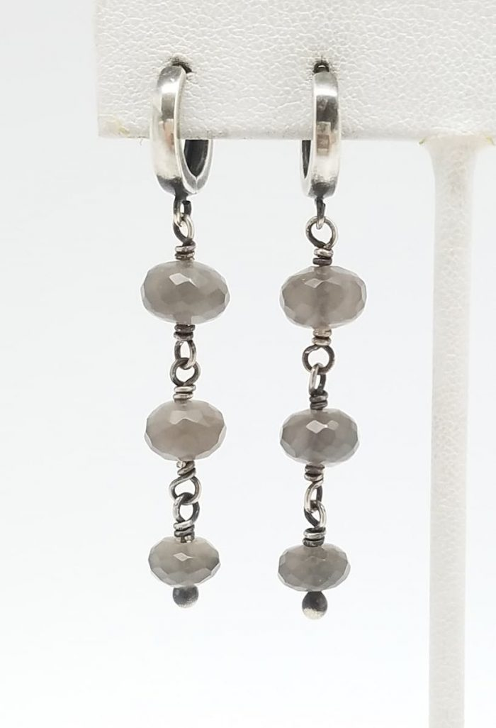Kary Kjesbo Designs Grey Moonstones 3 drop 7-9mm