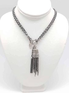 Kary Kjesbo Designs Light Essential tassel necklace and antique thimble with tassel