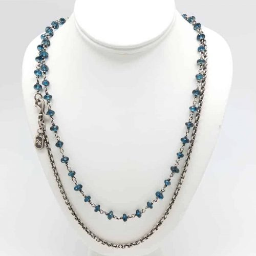 Kary Kjesbo Designs London Blue Topaz necklace 8mm (doubled)