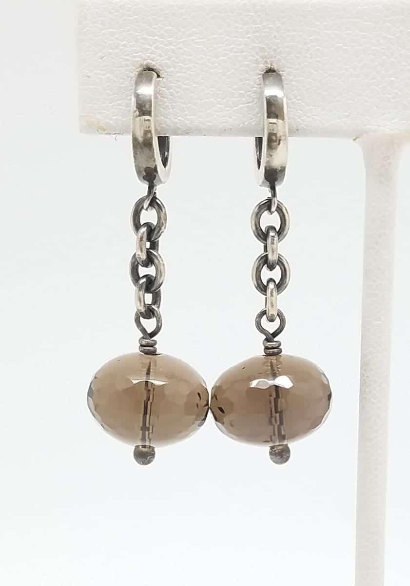 Kary Kjesbo Designs Smoky Quartz earrings 14mm