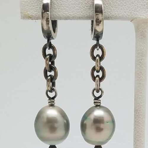 Kary Kjesbo Designs South Sea pearl earrings w chain 10mm