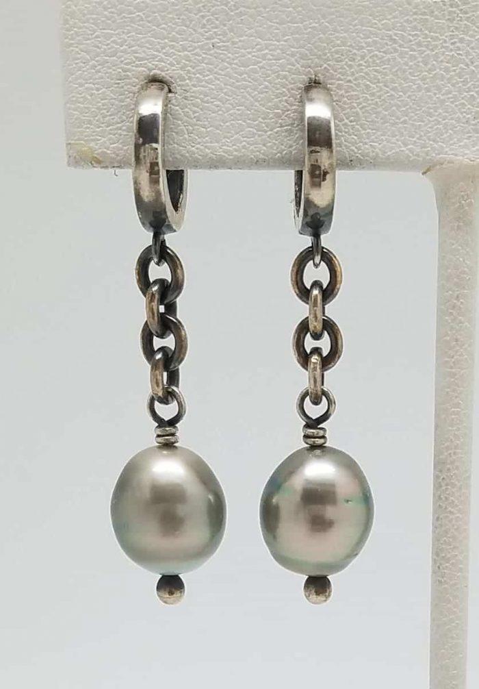 Kary Kjesbo Designs South Sea pearl earrings w chain 10mm