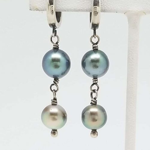 Kary Kjesbo Designs South Sea pearl earrings 2 drop 8-9mm