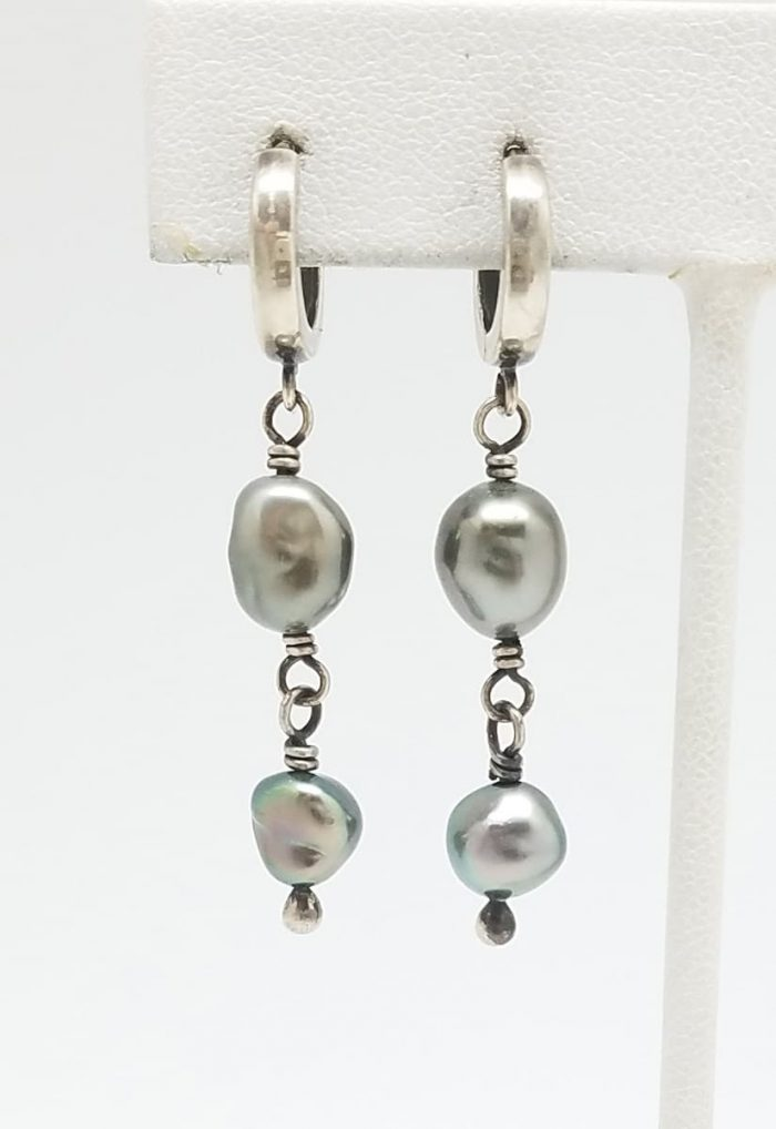 Kary Kjesbo Designs South Sea Keshi pearl earrings 6-8mm