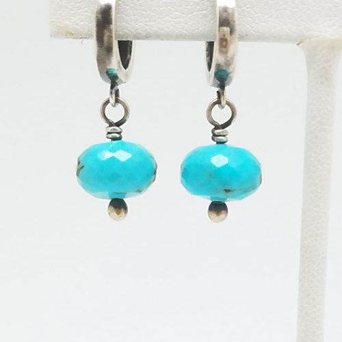 Kary Kjesbo Designs Turquoise earrings 1 drop 9mm