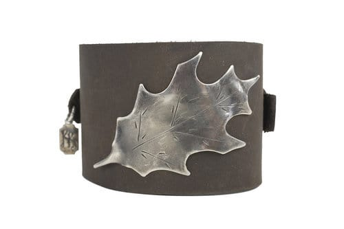 Kary Kjesbo Designs large leaf vintage botanical design on hand-sewn brown leather