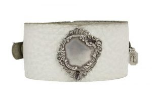 Kary Kjesbo Designs round vintage botanical design on hand-sewn cream leather cuff bracelet