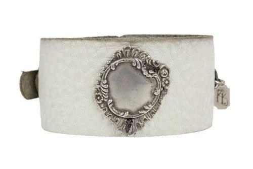 Kary Kjesbo Designs round vintage botanical design on hand-sewn cream leather cuff bracelet