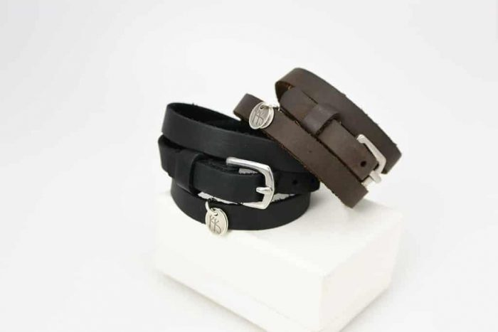 Steel and leather skinny wrap bracelet