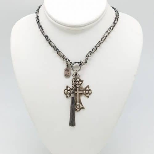 Antique Ethiopian Cross necklace with tassel