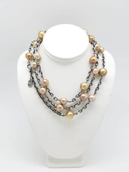 Kary Kjesbo Designs Natural Golden freshwater pearls, heavy chain.