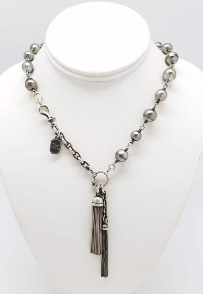"Kary Kjesbo Designs South Sea Pearls necklace (18"") with two Italian Tassels"