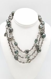 Kary Kjesbo Designs South Sea Keshi large cultured pearls on heavy chain.