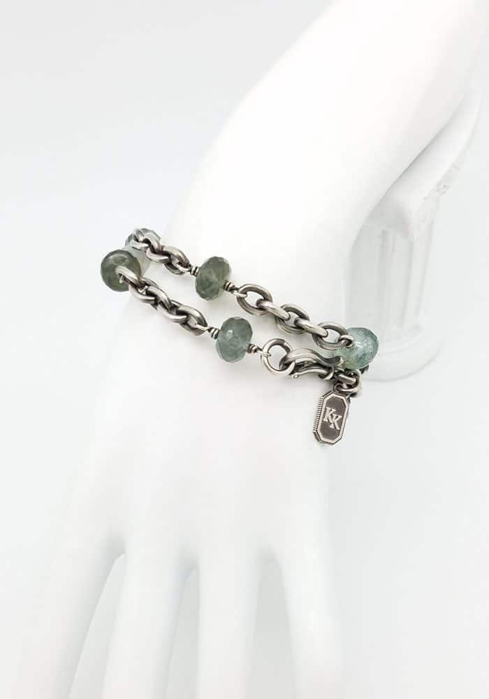 Heavy chain bracelet (moss aqua)