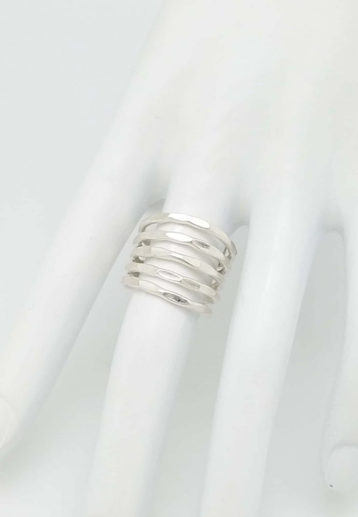 Kary Kjesbo Designs Thai Silver 5 layer hammered ring, the great look of stacking.