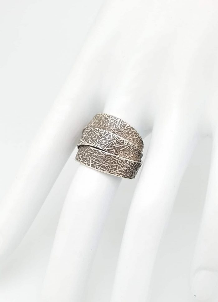 Kary Kjesbo Designs Thai Silver 3 layer textured Ring