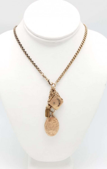 Victorian Gold Fob Chain Necklace with Lockets and Tassel
